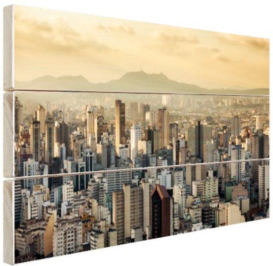 Sao Paulo Brazilie Hout 60x40 cm - Foto print op Hout (Wanddecoratie)