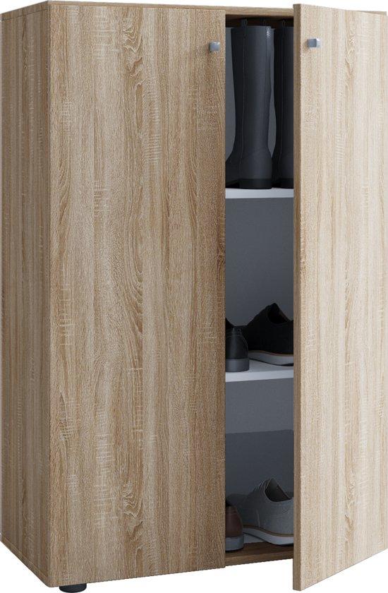 Kledingkast opbergkast ( kinderkamer ) Vandol Lonal Mini 110 cm hoog 3 opbergvakken lichtbruin Sonoma eiken