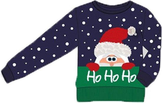 Unisex Kersttrui Ho Ho Ho - Blauw - Maat 128/134