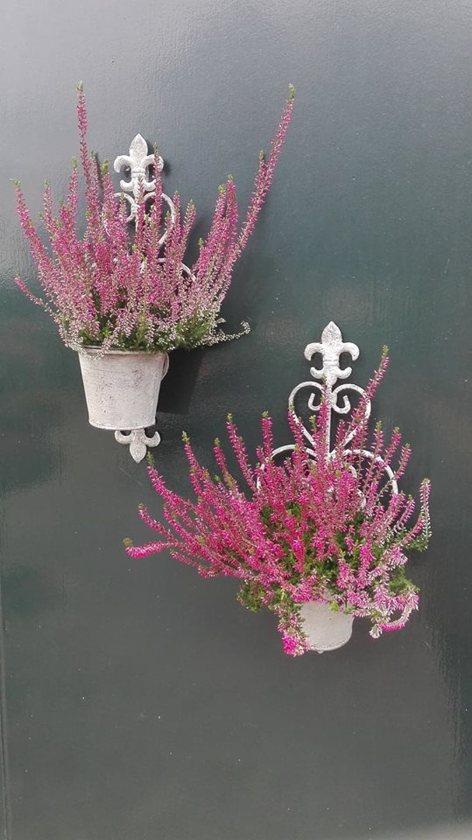 Tuin - plantenhanger S/2 - metaal - old look - bruin - zand - 37.5 cm hoog