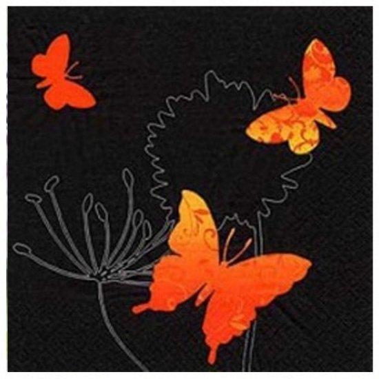 """VOORDEELPAK: 5 Pakjes van Servetten met vlinders – """"Dancing Butterflies Black"""", 33 cm - verpakking van 20 servietten"""