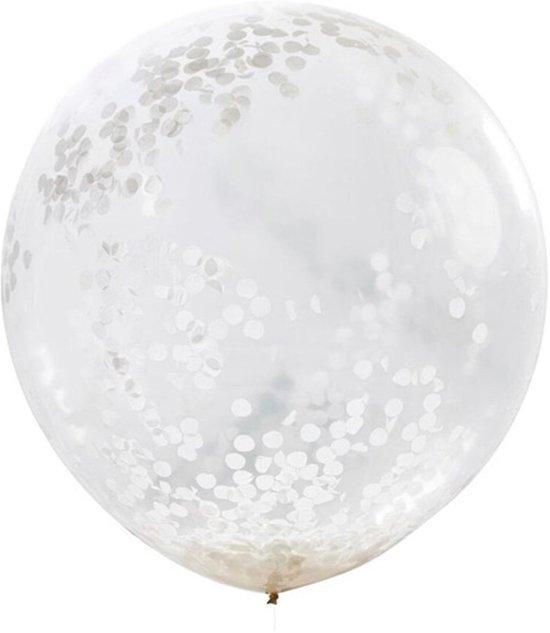 Ginger Ray Beautiful Botanics - XL ballon gevuld met witte confetti Ø 90 cm - Set-3 Valentinaa