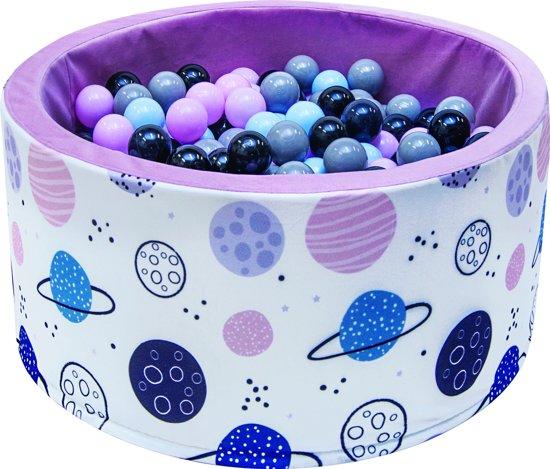Ballenbak | Planeten incl.  200 zwarte, blauwe, grijze en roze ballen