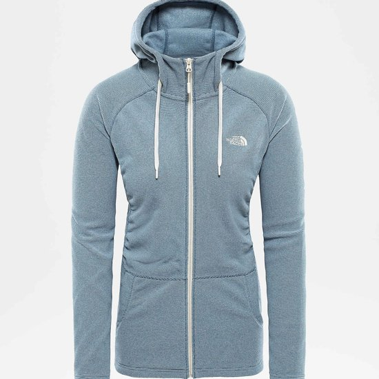 94d773bfae The North Face Mezzaluna Full Zip Hoodie Vest - Dames - Blue Wing Teal  Stripe