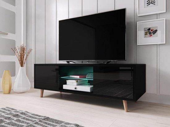 Design Tv Meubel Hoogglans.Tv Meubel Hoogglans Zwart Scandinavisch Design Inclusief Led