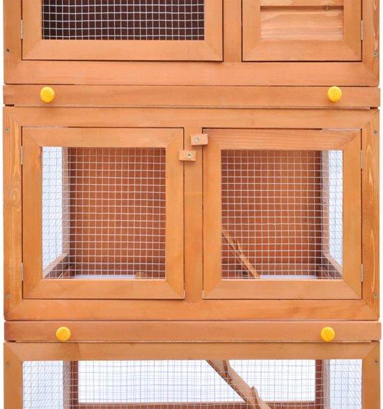 vidaXL Konijnenhok voor buiten - met 3 verdiepingen - 80 x 71 x 160 cm - Bruin
