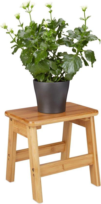 relaxdays - bamboe kruk - opstapkruk - opstapje - houten krukje - voetenbank
