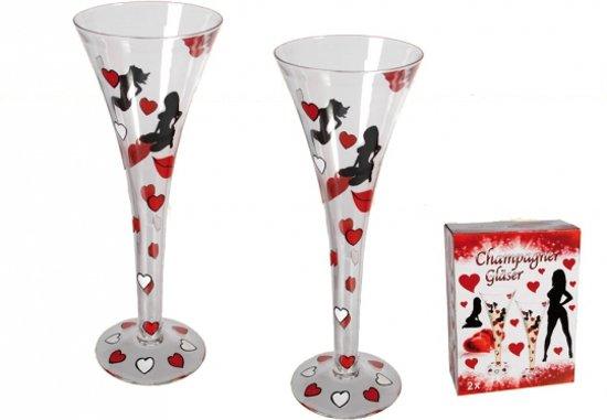 Champagne glazen set met hartjes