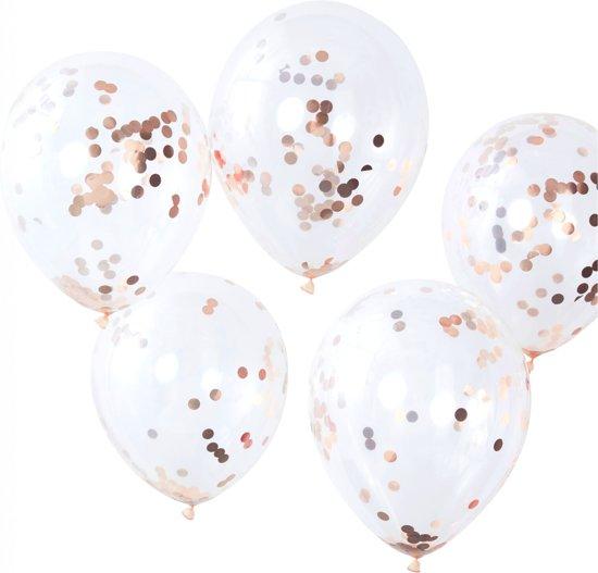 Ginger Ray Pick & Mix - Ballon gevuld met rosé gouden confetti Ø 28 cm - Set-5 Valentinaa