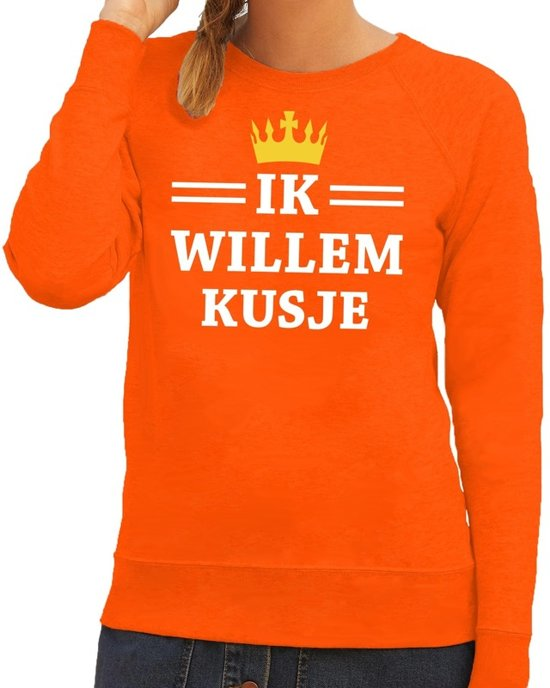 Oranje Ik Willem kusje sweater dames XS
