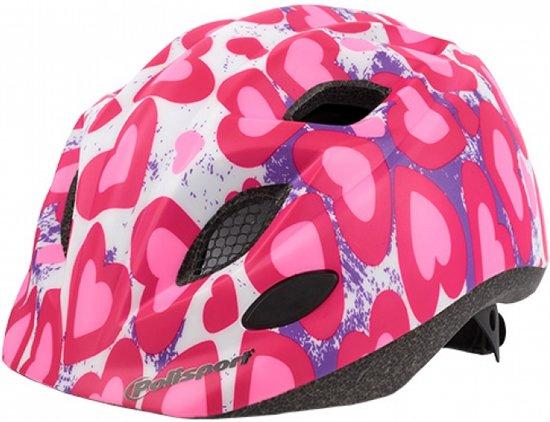 Polisport Glitter hearts fietshelm kind + bidon - Maat S (53-55cm) - Roze