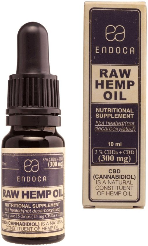 Endoca CBD Olie Raw CO2 Extractie 3% CBD 10ml