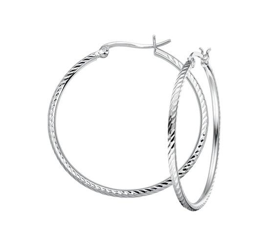 The Jewelry Collection Oorringen Gediamanteerd - Zilver Gerhodineerd