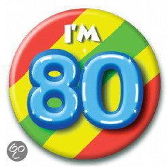 Button 80 jaar (55 mm)