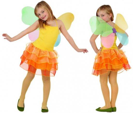Vlinder kinder kostuum geel met oranje 104 (3-4 jaar)
