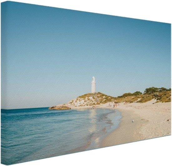 Eiland met vuurtoren Canvas 60x40 cm - Foto print op Canvas schilderij (Wanddecoratie woonkamer / slaapkamer) / Zee en Strand