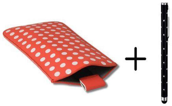 Polka Dot Hoesje voor Wolfgang At As50hd met gratis Polka Dot Stylus, Rood, merk i12Cover