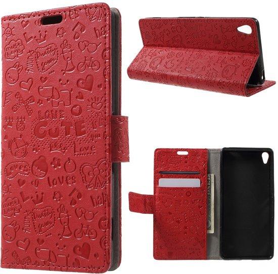 Shop4 - Sony Xperia XA Hoesje - Wallet Case Cartoon Rood in Xhendremael