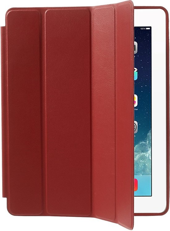 Shop4 - iPad 2/3/4 Hoes - Smart Book Case Lychee Rood in Noord-Scharwoude