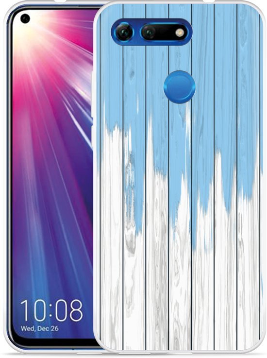 Huawei Honor View 20 Hoesje Dripping blue paint