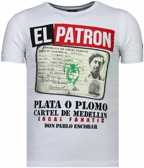 Local Fanatic El Patron Narcos Billionaire - Rhinestone T-shirt - Wit - Maten: S
