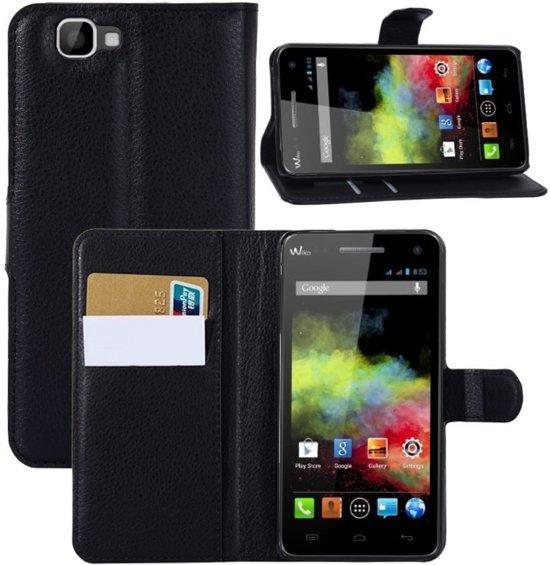 Wiko Rainbow Hoesje Zwart (Wallet Stand Case) in Ceresdorp
