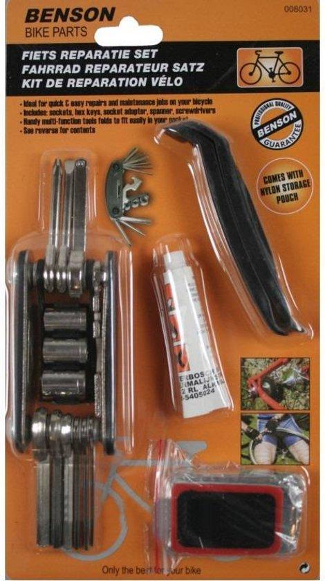 Fiets reparatie onderhouds bandenplak set inclusief gereedschaptool en opbergtasje