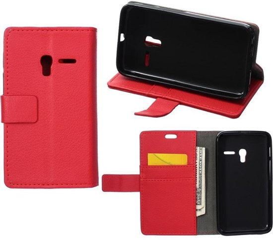 Litchi Cover wallet case hoesje Alcatel One Touch Pop 3 5.5 rood
