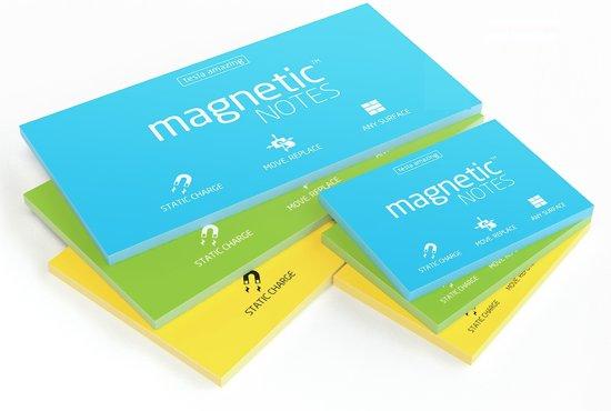 Magnetic Notes, set van 6 notitieboekjes maat M (100x74mm) en L (200x100mm)x100 sheets kleur geel blauw en groen