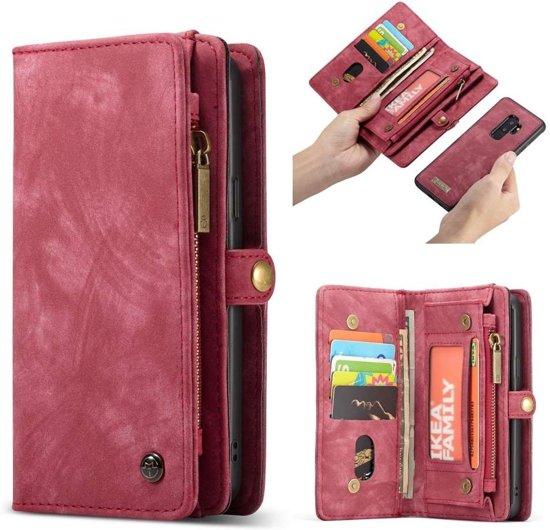 CASEME Samsung Galaxy S9 Plus Luxe Leren Portemonnee Hoesje - met backcover (rood)