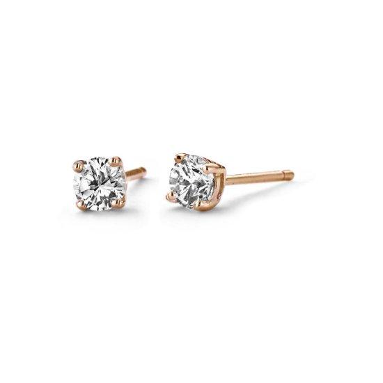 Silventi 921182091 Zilveren oorstekers - zirkonia rond 4 mm - rosékleurig