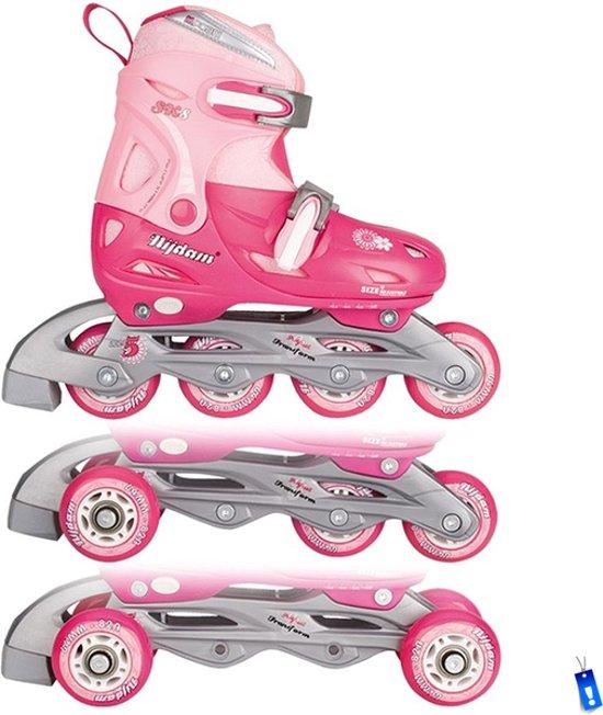 Inline Skates Rolschaatsen Quads - 3 in 1 - Meisjes Verstelbaar - Roze - maat 34 - 37