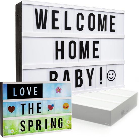 Gadgy® - Lightbox A4 - inclusief: 85 zwarte letters/symbolen – USB kabel - 4 achtergronden – 40 gekleurde emojis – 3 zwarte woorden – 3 schrijfwoorden - zwart