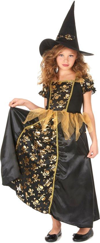 Zwart gouden heksen kostuum voor meisjes - Verkleedkleding - 140/152