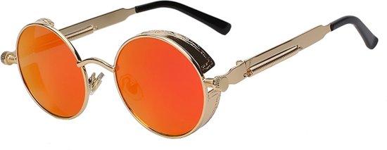 f10767db7f503f Steampunk ronde zonnebril oranje vintage - ronde glazen - goud montuur -  hippie rood festival