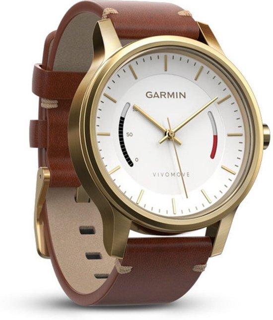 Garmin vivomove Premium goud staal met lederen armband
