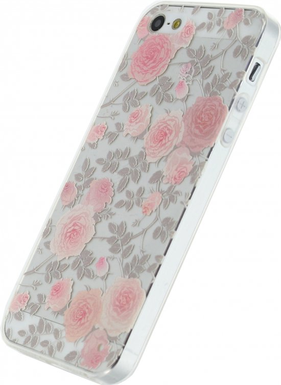 Bolcom Xccess Rubber Case Apple Iphone 55s Transparentfloral Rose