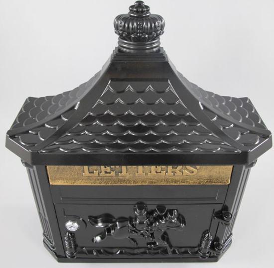 """Vintage gietijzeren brievenbus """"letters"""" zwart"""