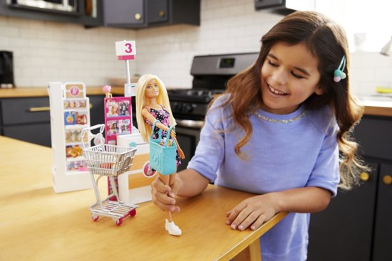 Barbie® Supermarkt incl. winkelwagen en Barbiepop
