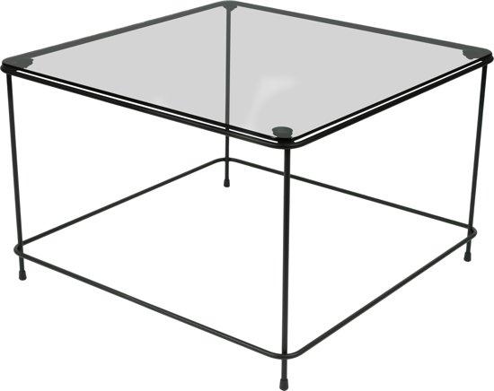 Torna Design Atos 60 Rookglas - Bijzettafel - 58x38,5x58 cm - Zwart Staal/Rookglas