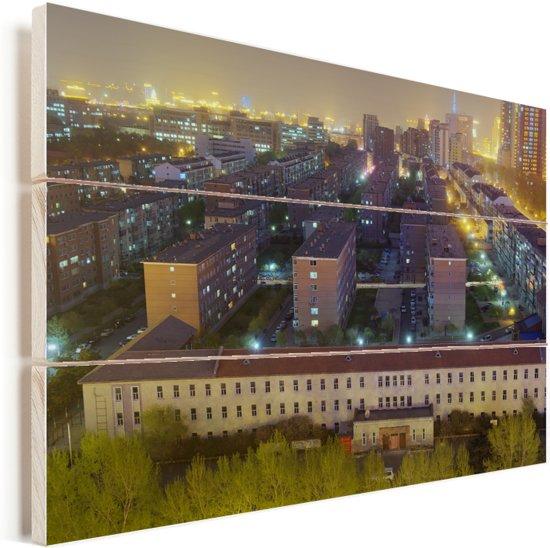 Kleurrijke stadslandschap in de provincie Jilin van China Vurenhout met planken 120x80 cm - Foto print op Hout (Wanddecoratie)