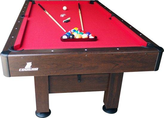 Cougar Saphir Pooltafel / Bruin / Rood laken / 220 x 110 cm speelveld / Inclusief 16 ballen, 2 keuen, triangel en krijt