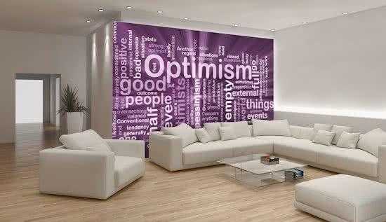 Fotobehang Tekst, Optimisme | Paars | 208x146cm