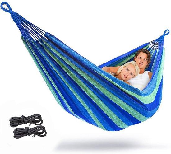 Opvouwbare 2 persoons Hangmat - Dubbele hangmat – Hammock – Inclusief opbergtas en touw