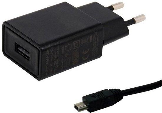 TUV gekeurde 2A oplader. 1,2 m Mini-USB kabel, geschikt voor Garmin. o.a. Approach G3, G5, G6, G7, Aternos 100 - K5 system