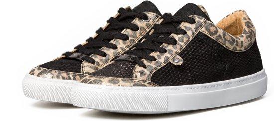 KUNOKA Alex 1.1a fishnet black Sneakers Dames Zwart Tijgerprint