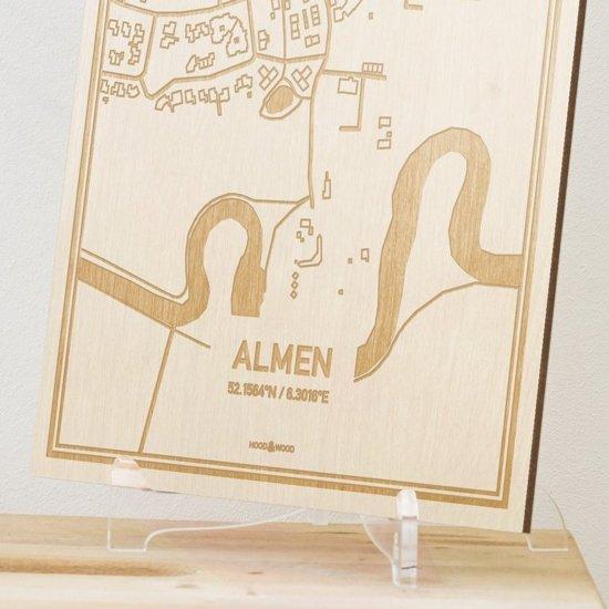 Kaart Almen -  Gegraveerde stadskaart Hood&Wood - Hout, A4