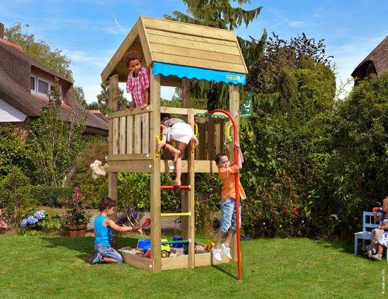 Speeltoren met Brandweerpaal voor Kleine Tuin - Jungle Home Fireman's Pole