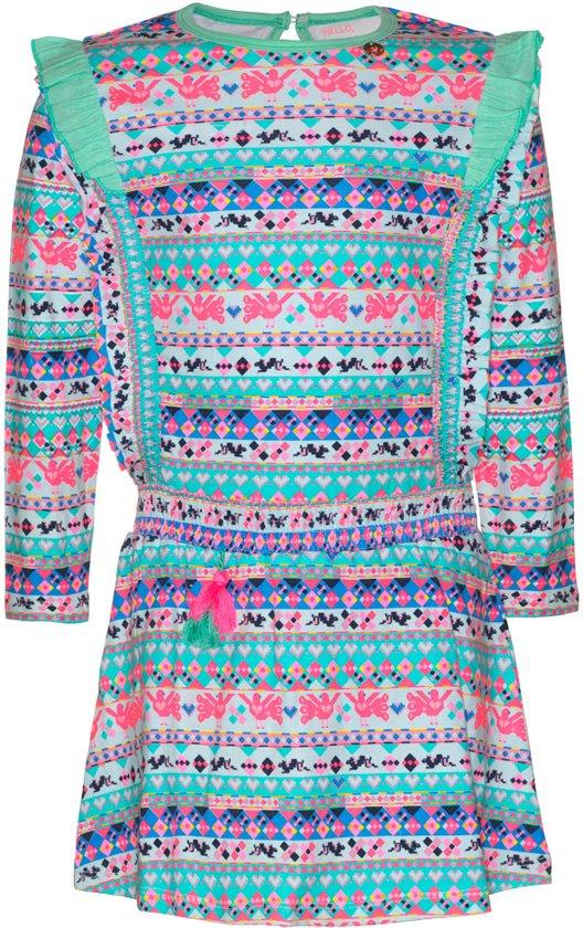 Mim-pi Meisjes Jurk - Blauw met multicolor - Maat 152