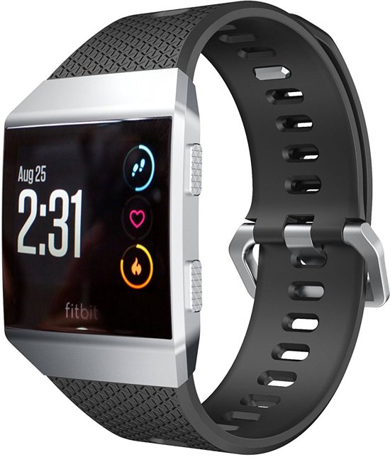 Siliconen Horloge Band Voor Fitbit Ionic - Armband / Polsband / Strap Sport Bandje / Sportband - Zwart Large